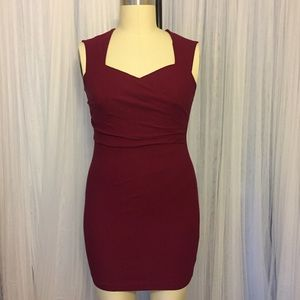 Red Ruched Fitted Stretch Pencil Dress Size 2X